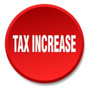 tax increase red round flat isolated push button - stock illustration