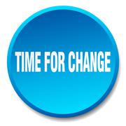 time for change blue round flat isolated push button - stock illustration
