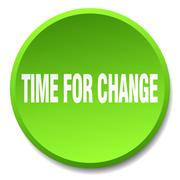 Time for change green round flat isolated push button Stock Illustration