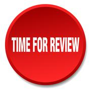 time for review red round flat isolated push button - stock illustration