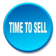 Time to sell blue round flat isolated push button Stock Illustration