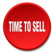 Time to sell red round flat isolated push button Stock Illustration