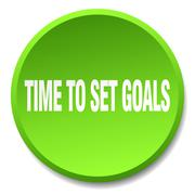 time to set goals green round flat isolated push button - stock illustration