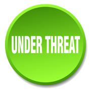 under threat green round flat isolated push button - stock illustration