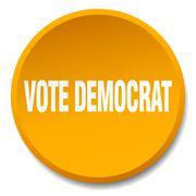 Vote democrat orange round flat isolated push button Piirros