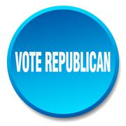 Vote republican blue round flat isolated push button Stock Illustration