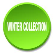 Winter collection green round flat isolated push button Stock Illustration