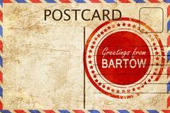 bartow stamp on a vintage, old postcard - stock illustration