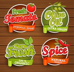 Farm fresh, organic food label. - stock illustration