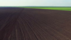 Aerial view of fields, the fertile soil, green dawning, spring day Stock Footage