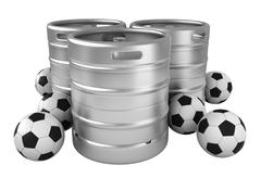 Beer kegs and soccer balls Stock Illustration