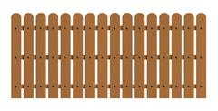Wooden fence isolated over white background - stock illustration