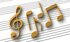 Abstract music notes - stock illustration