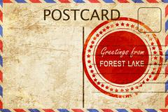forest lake stamp on a vintage, old postcard - stock illustration