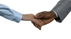 Afro businessman shaking woman's hand. Stock Footage