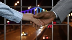 Young woman shakes businessman's hand. Stock Footage