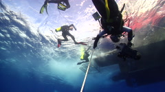 Chaotic hoard of scuba divers ascending on water surface in Australia, HD, Stock Footage