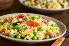 Brown Rice and Vegetable Salad - stock photo