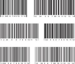 Set of 6 bar code labels. Vector illustration. - stock illustration