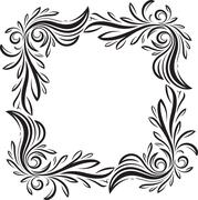Unusual, decorative lace ornament, vintage frame with square empty place for  - stock illustration