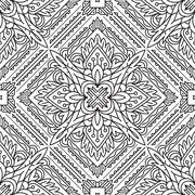 Seamless Square Abstract Tribal Black-White Pattern In Mono Line Style. Hand  - stock illustration