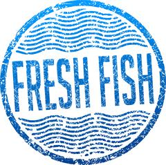 Fresh fish blue grunge style rubber stamp Stock Illustration
