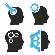 Brain Tools Flat Vector Icons Stock Illustration