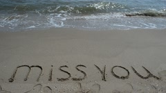 MISS YOU, creative abstract graphic message for your summer design.  Stock Footage