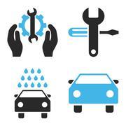 Car Service Flat Vector Icons - stock illustration