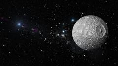 Planet Mimas in outer space. Stock Illustration