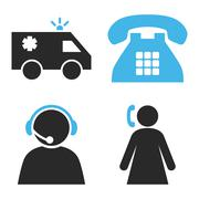 Emergency Operator Flat Vector Icons - stock illustration