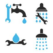 Plumbing Tools Flat Vector Icons - stock illustration