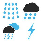Thunderstorm Flat Vector Icons Stock Illustration