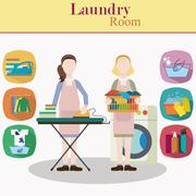 Couple of women laundry workers Stock Illustration