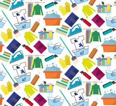 Seamless background of a laundry Stock Illustration