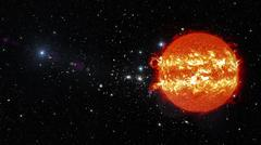 Sun in outer space. - stock illustration