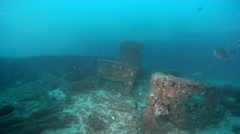 Ocean scenery two wrecks, on man made artificial reef, HD, UP20747 Stock Footage