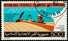 Ancient airplane Morane Saulnier on postage stamp - stock photo