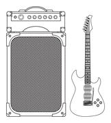Electric Guitar and Amplifier Stock Illustration