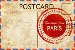 paris stamp on a vintage, old postcard - stock illustration