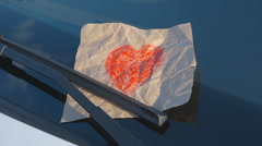 Confessions on a Windshield - Hand Drawn Heart Stock Footage
