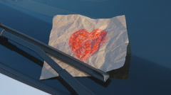 Confessions on a Windshield - Hand Drawn Heart - camera pan Stock Footage