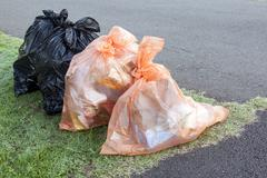 Garbage and Recycling Bags Ready for Collection - stock photo