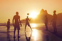 Locals Playing Ball at Sunset in Ipanema Beach, Rio de Janeiro, Brazil Kuvituskuvat