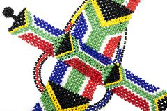 Close up of Zulu Beads in the Colors of the South African Flag - stock photo