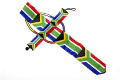 Zulu Beads Threaded into a Necktie of the South African Flag - stock photo