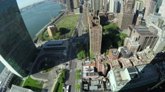First Avenue and East River in Midtown Manhattan, NYC Stock Footage