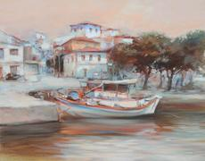 Boats on the island harbor,handmade painting Stock Illustration