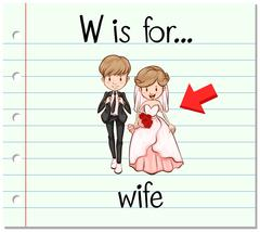 Flashcard letter W is for wife - stock illustration