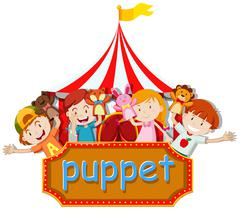Boys and girls playing animal puppets - stock illustration